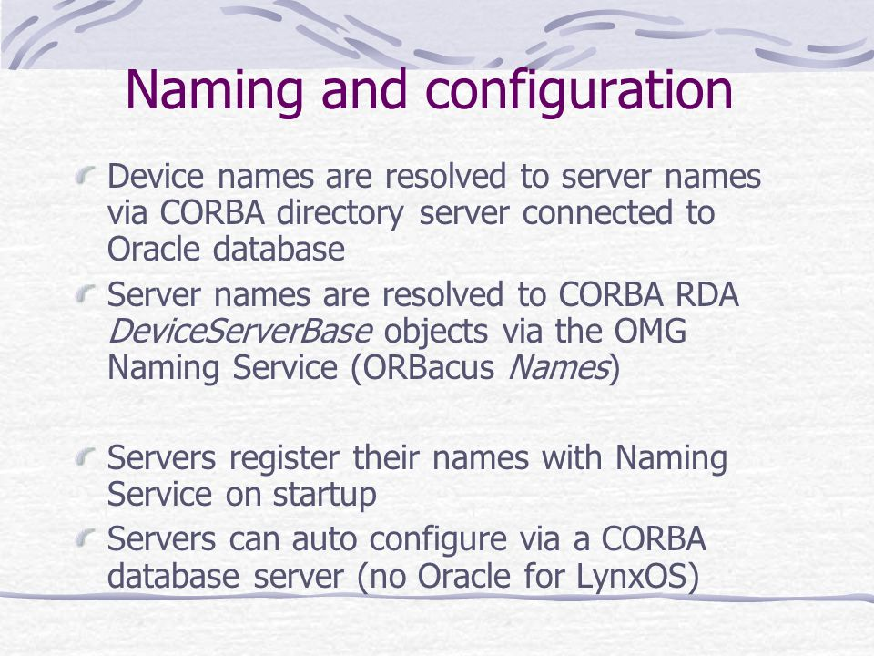 Naming and configuration