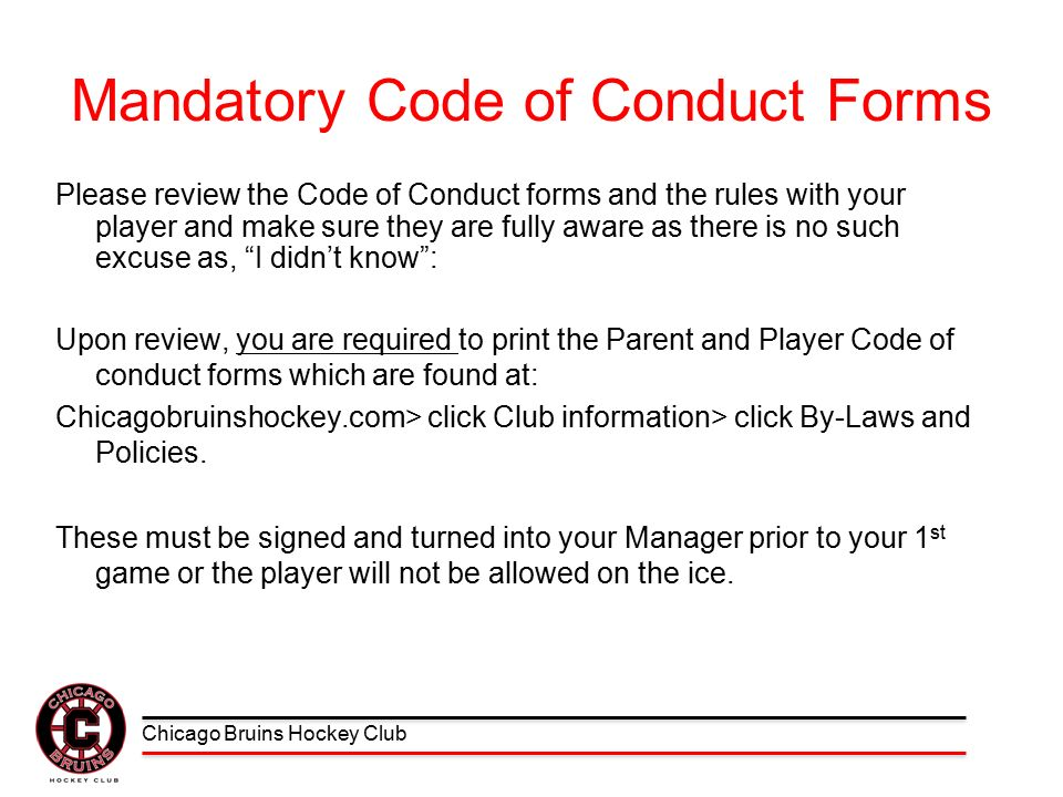 Parent/Player Code of Conduct September, ppt download