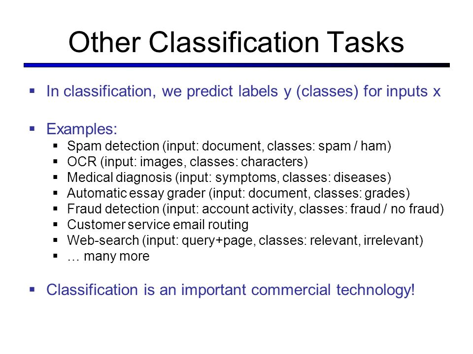 cse a artificial intelligence spring ppt  6 other classification tasks