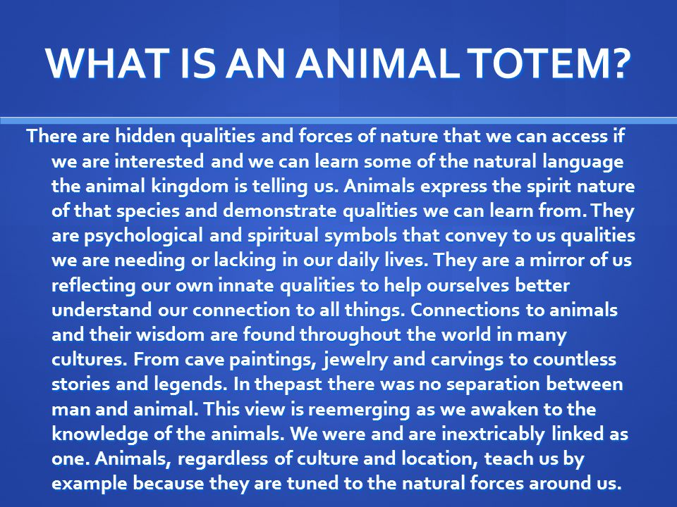 WHAT IS AN ANIMAL TOTEM