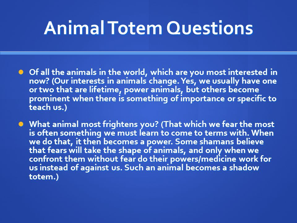 Animal Totem Questions