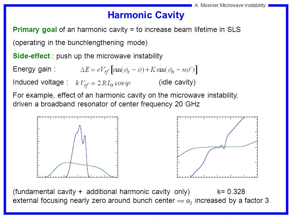 Harmonic Cavity Primary goal of an harmonic cavity = to increase beam lifetime in SLS. (operating in the bunchlengthening mode)