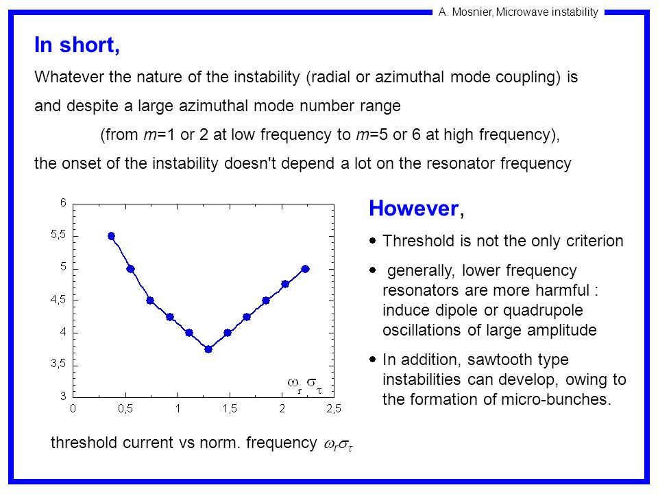 In short, Whatever the nature of the instability (radial or azimuthal mode coupling) is. and despite a large azimuthal mode number range.