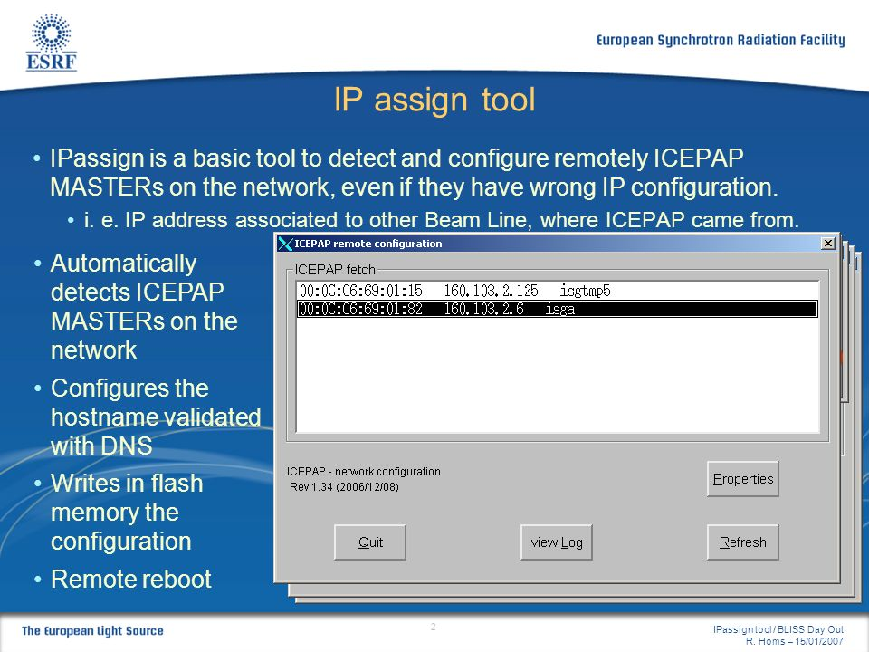 IP assign tool IPassign is a basic tool to detect and configure remotely ICEPAP MASTERs on the network, even if they have wrong IP configuration.