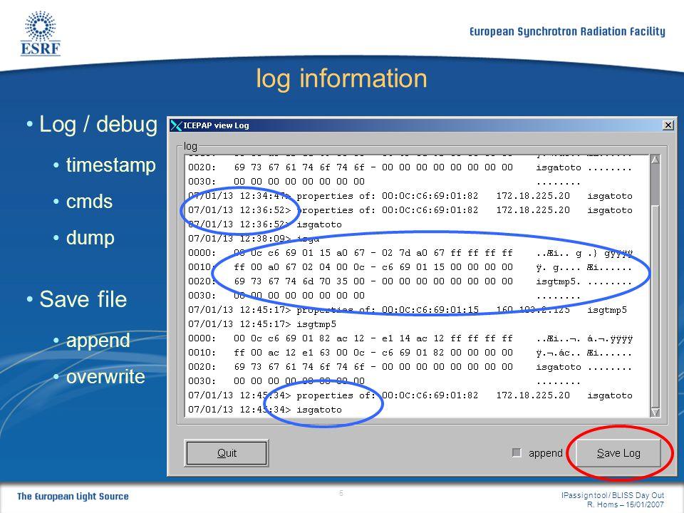 Iog information Log / debug Save file timestamp cmds dump append