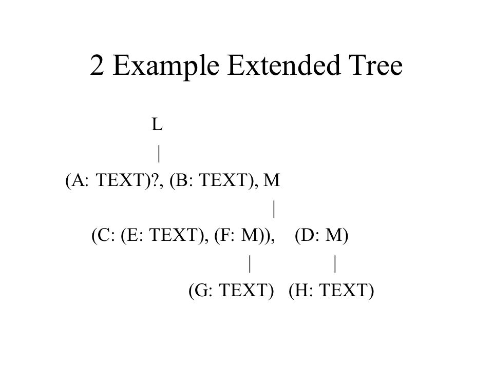 2 Example Extended Tree L | (A: TEXT) , (B: TEXT), M |