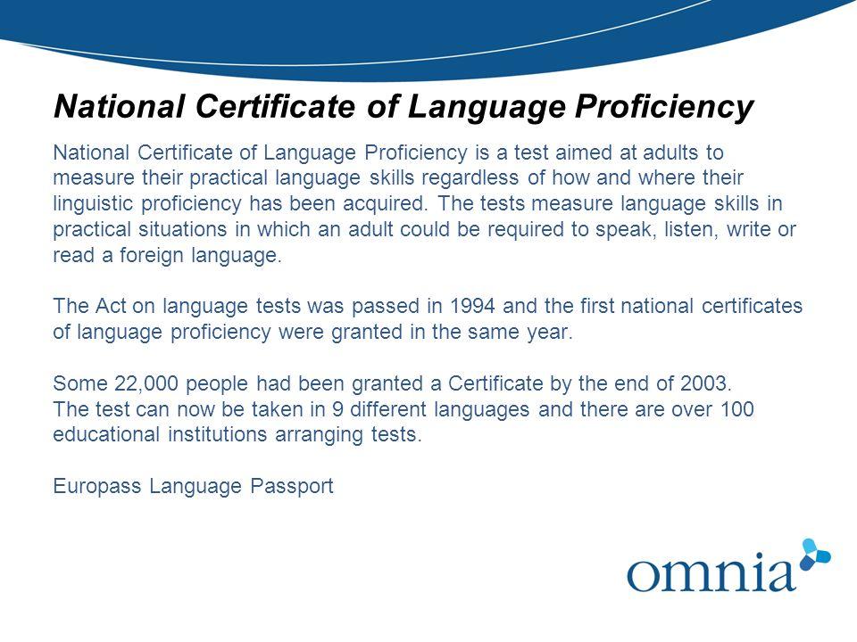 National Certificate of Language Proficiency