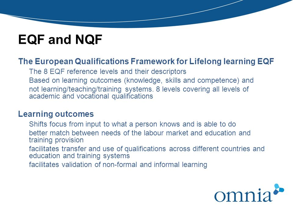 EQF and NQF The European Qualifications Framework for Lifelong learning EQF. The 8 EQF reference levels and their descriptors.