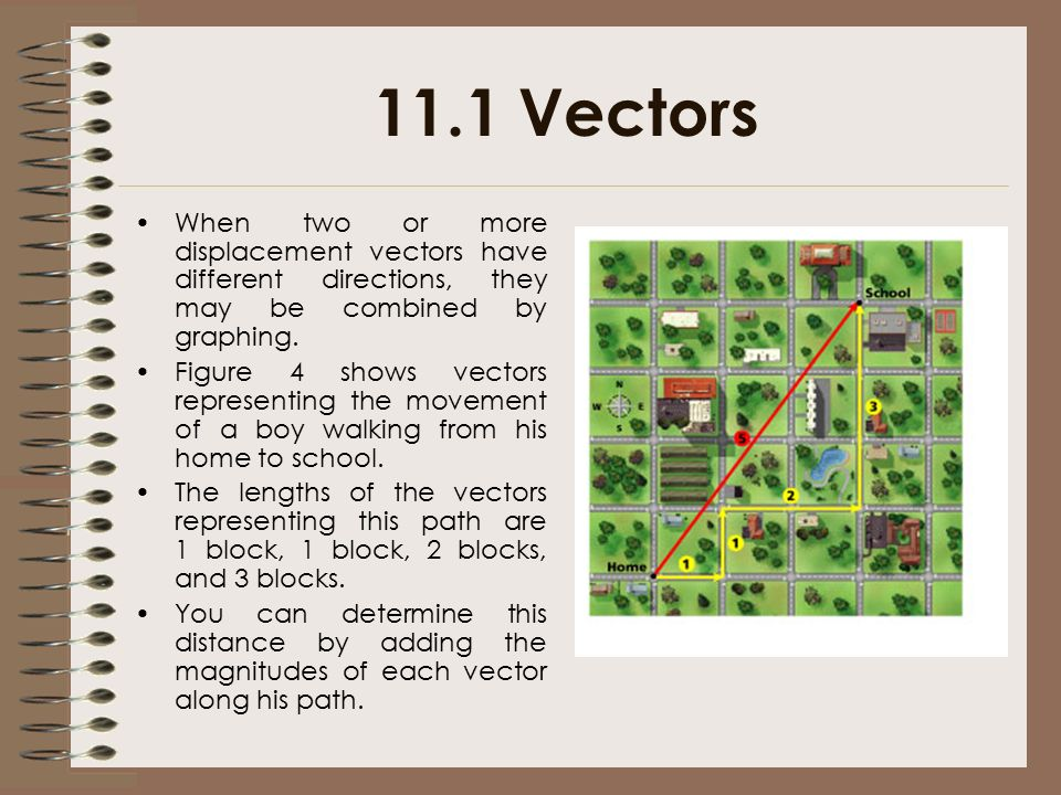 11.1 Vectors When two or more displacement vectors have different directions, they may be combined by graphing.