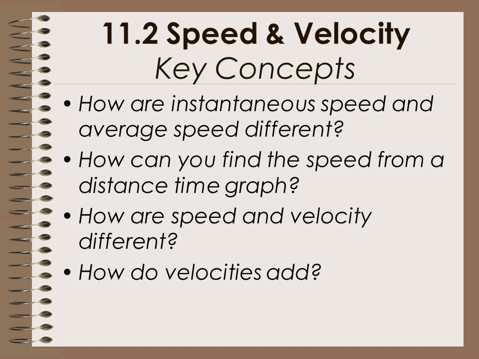 11.2 Speed & Velocity Key Concepts