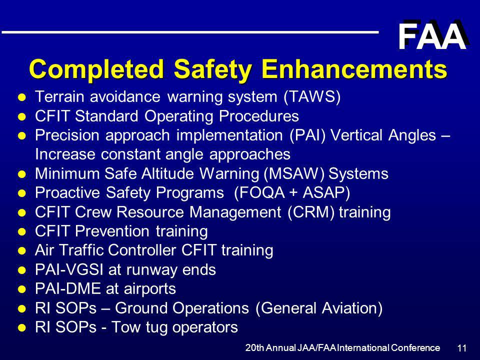 Completed Safety Enhancements