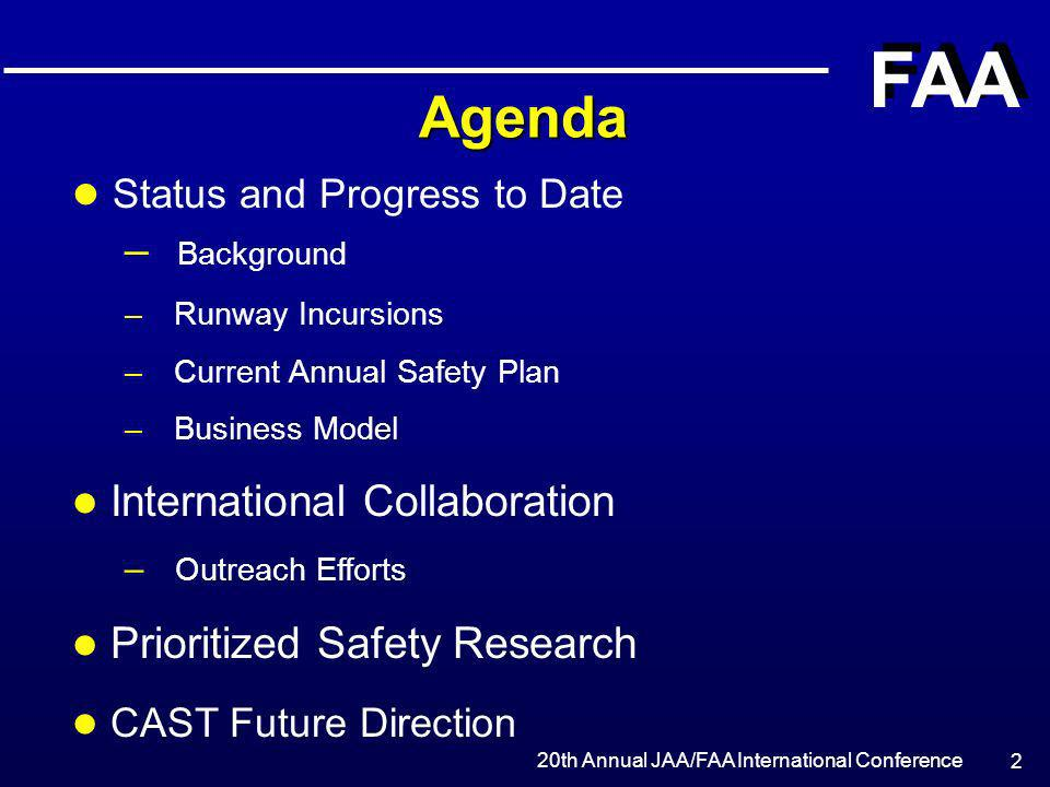 Agenda Status and Progress to Date Background