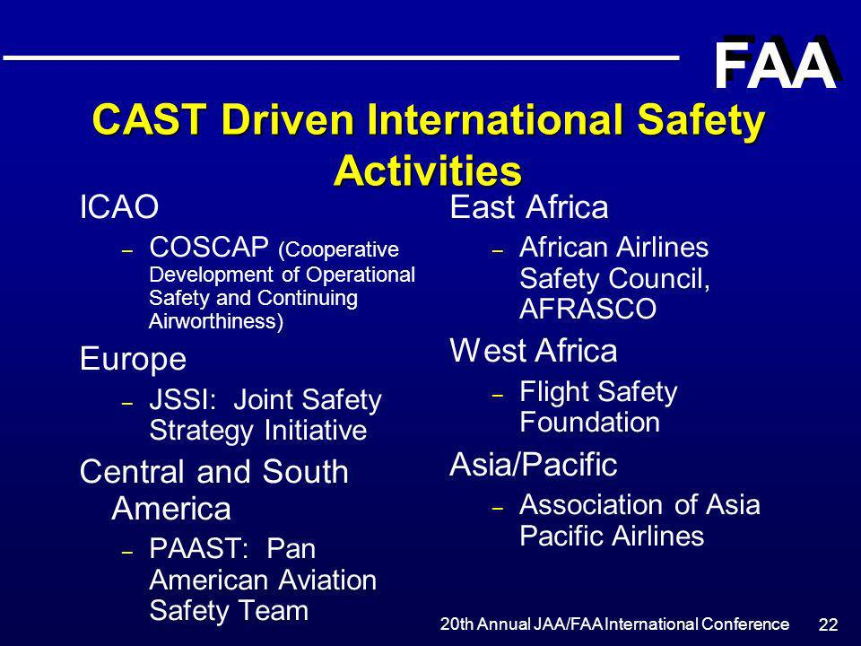 CAST Driven International Safety Activities