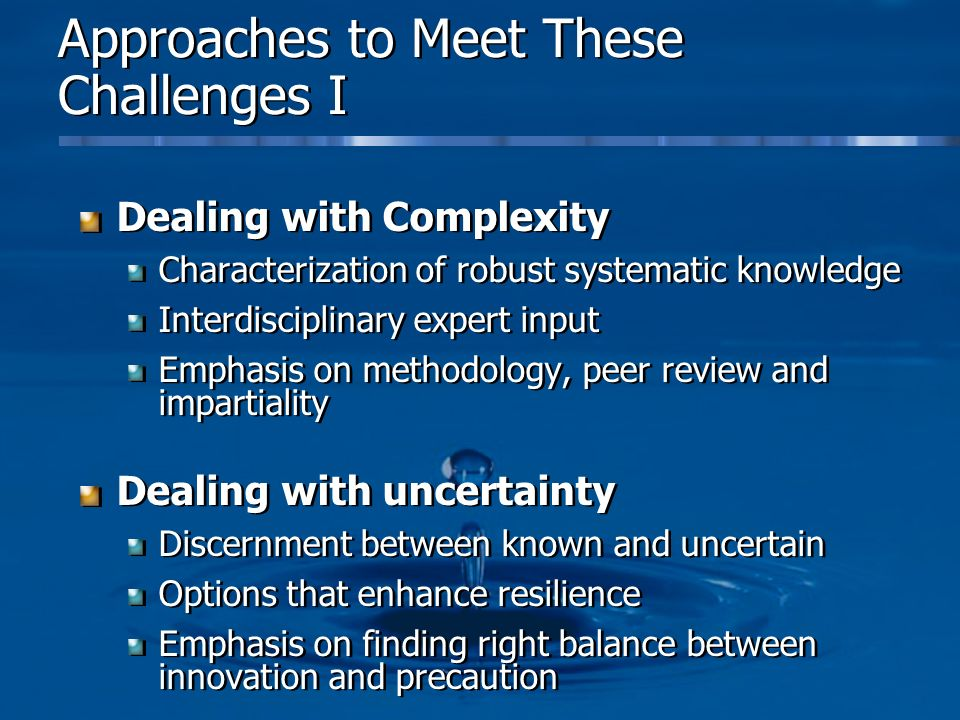 Approaches to Meet These Challenges I