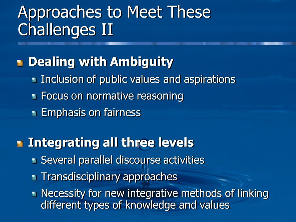 Approaches to Meet These Challenges II