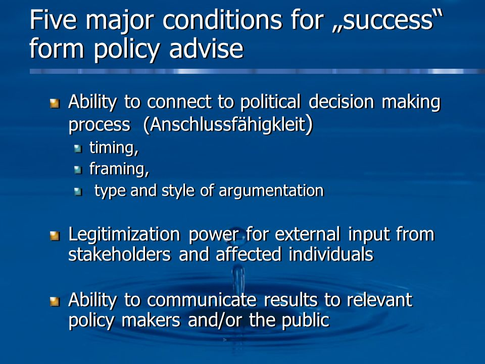 """Five major conditions for """"success form policy advise"""