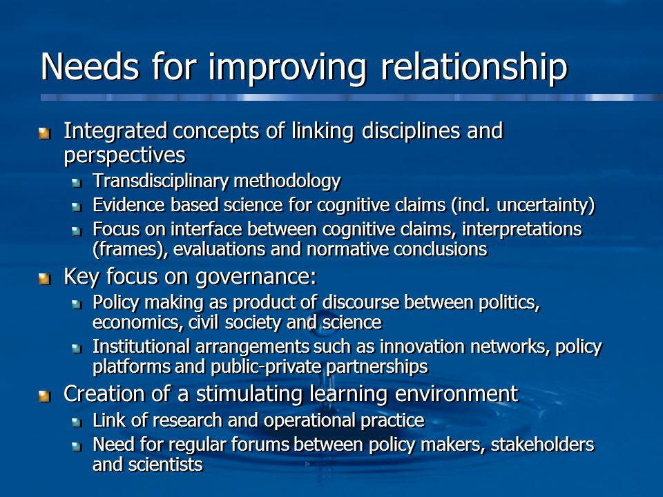 Needs for improving relationship