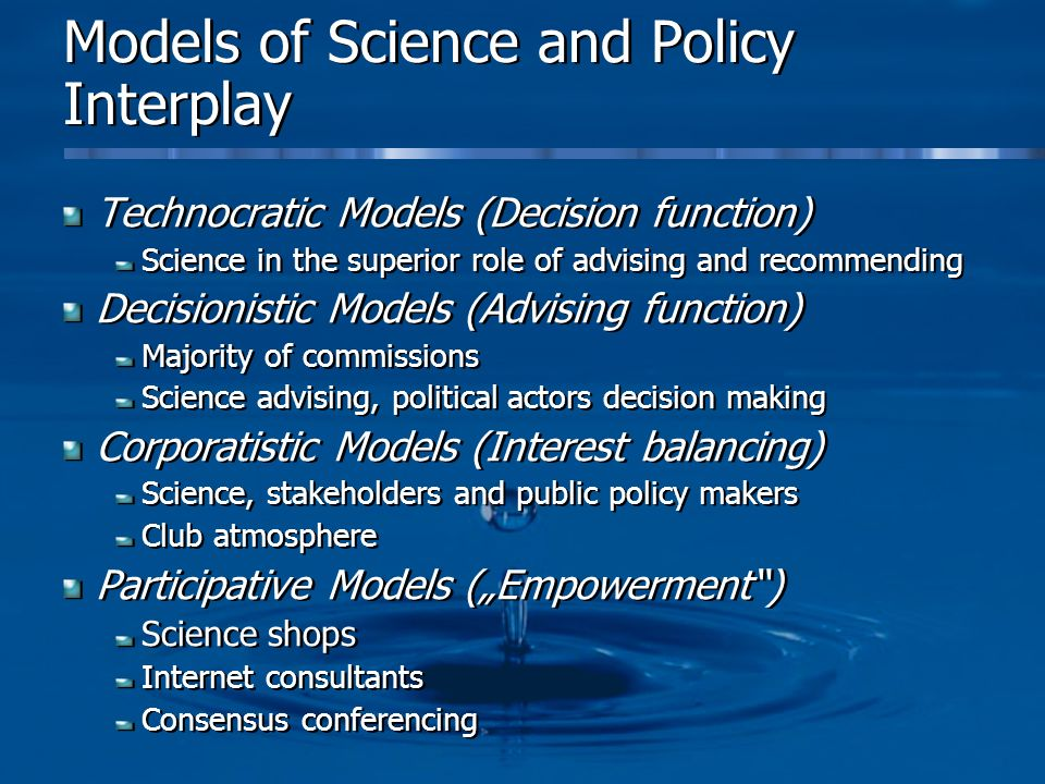 Models of Science and Policy Interplay