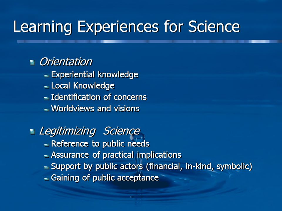 Learning Experiences for Science