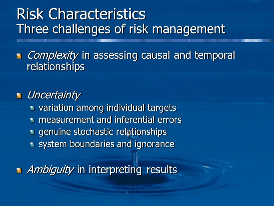Risk Characteristics Three challenges of risk management
