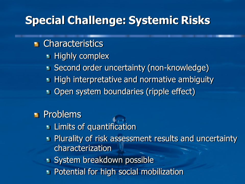 Special Challenge: Systemic Risks