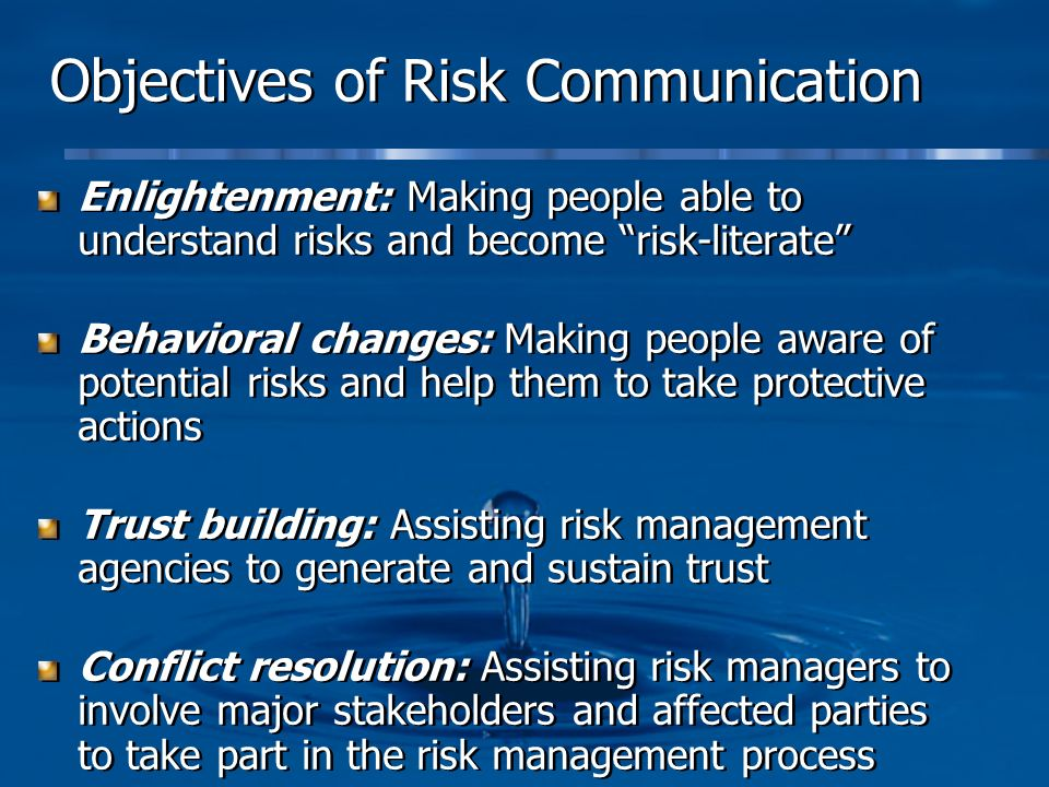 Objectives of Risk Communication