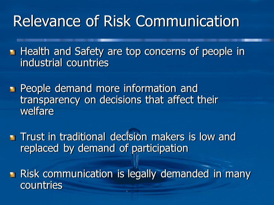 Relevance of Risk Communication