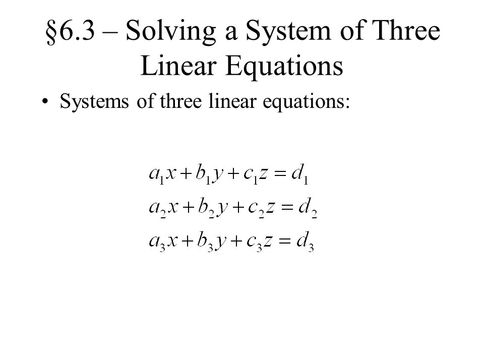 how to solve three linear equations