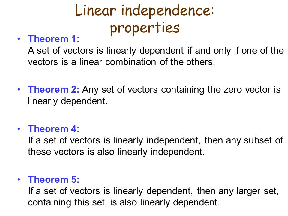 Linear independence: properties