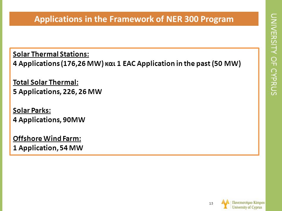 Applications in the Framework of NER 300 Program