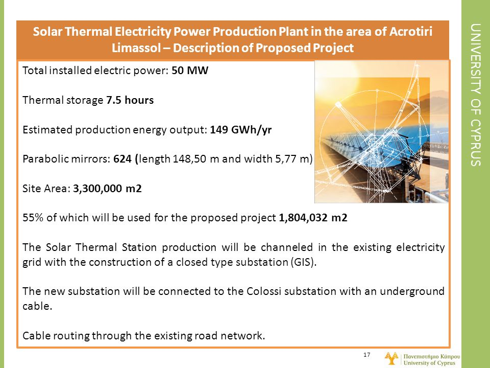 Solar Thermal Electricity Power Production Plant in the area of Acrotiri Limassol – Description of Proposed Project