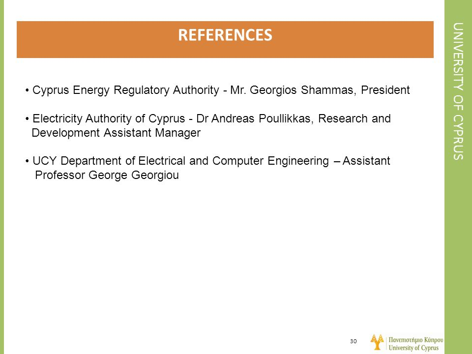 REFERENCES UNIVERSITY OF CYPRUS