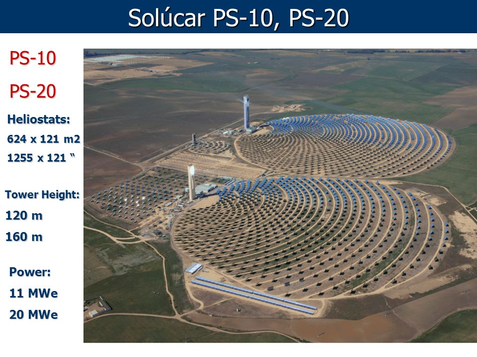 Solúcar PS-10, PS-20 PS-10 PS-20 Heliostats: 120 m 160 m Power: 11 MWe