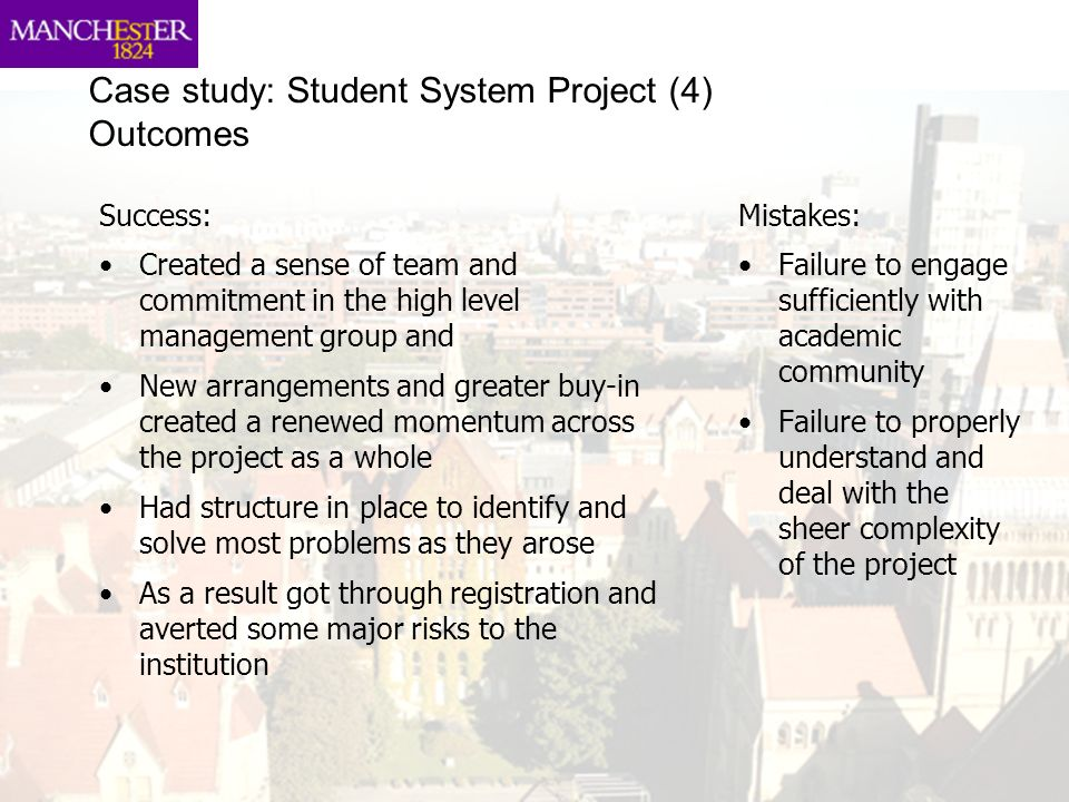 Case study: Student System Project (4) Outcomes