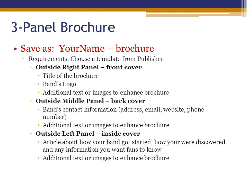 3 panel brochure template - desktop publishing unit ppt video online download