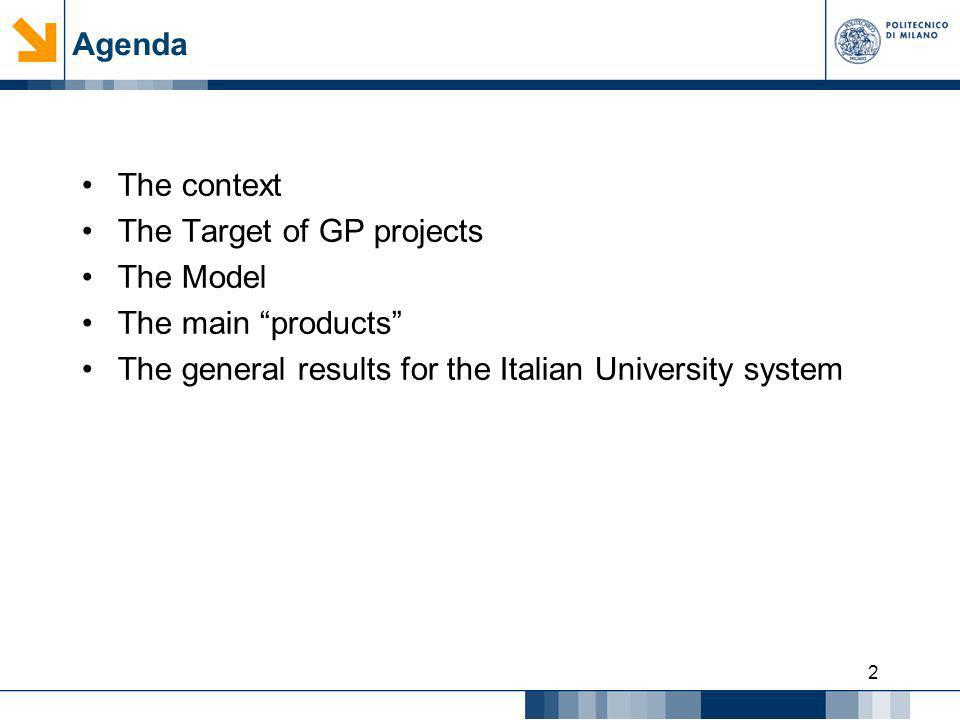 Agenda The context. The Target of GP projects. The Model.