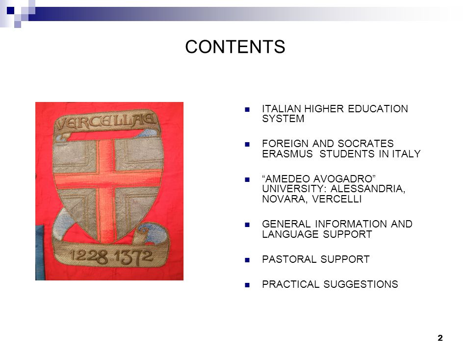 CONTENTS ITALIAN HIGHER EDUCATION SYSTEM
