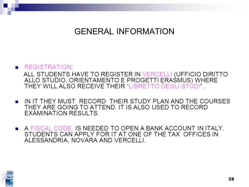 GENERAL INFORMATION REGISTRATION: