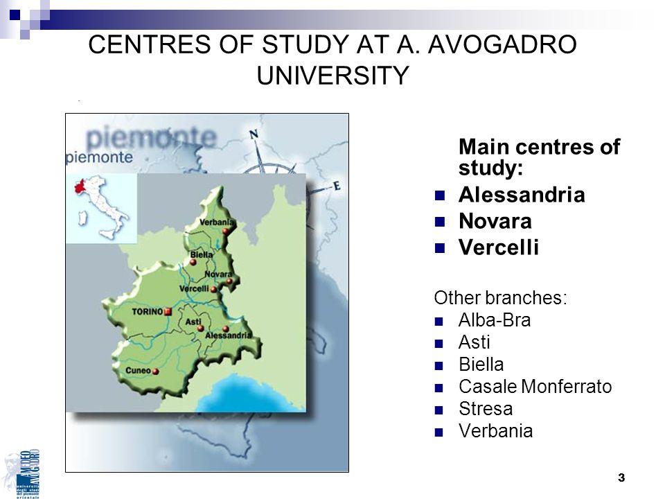 CENTRES OF STUDY AT A. AVOGADRO UNIVERSITY