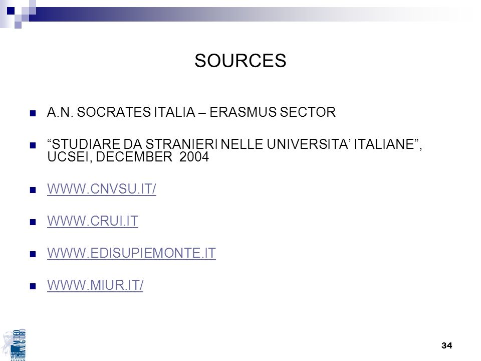 SOURCES A.N. SOCRATES ITALIA – ERASMUS SECTOR