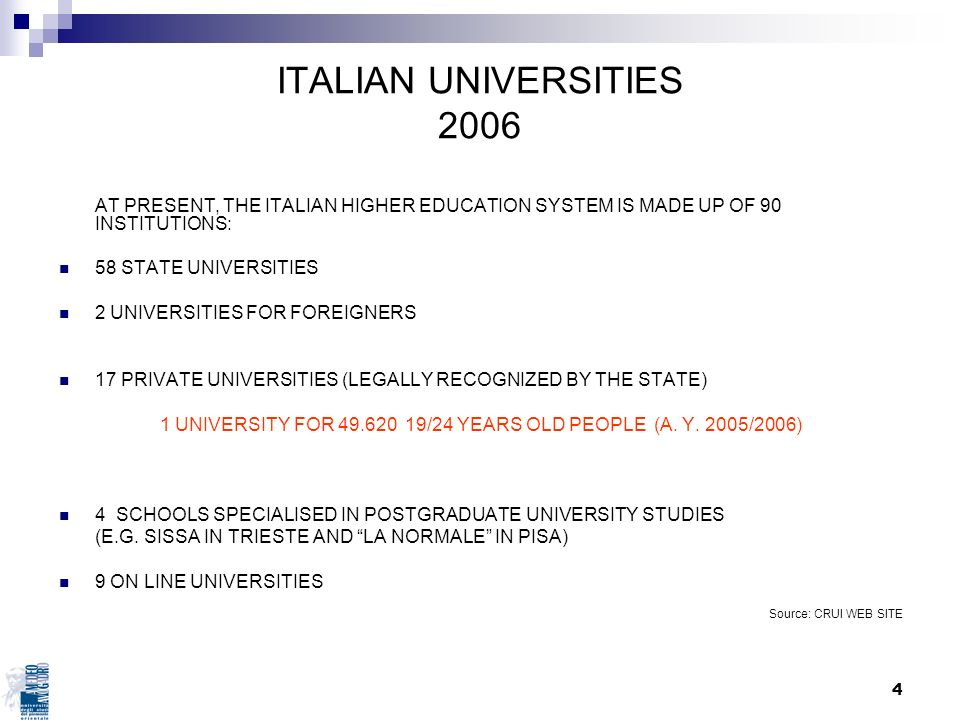 1 UNIVERSITY FOR 49.620 19/24 YEARS OLD PEOPLE (A. Y. 2005/2006)