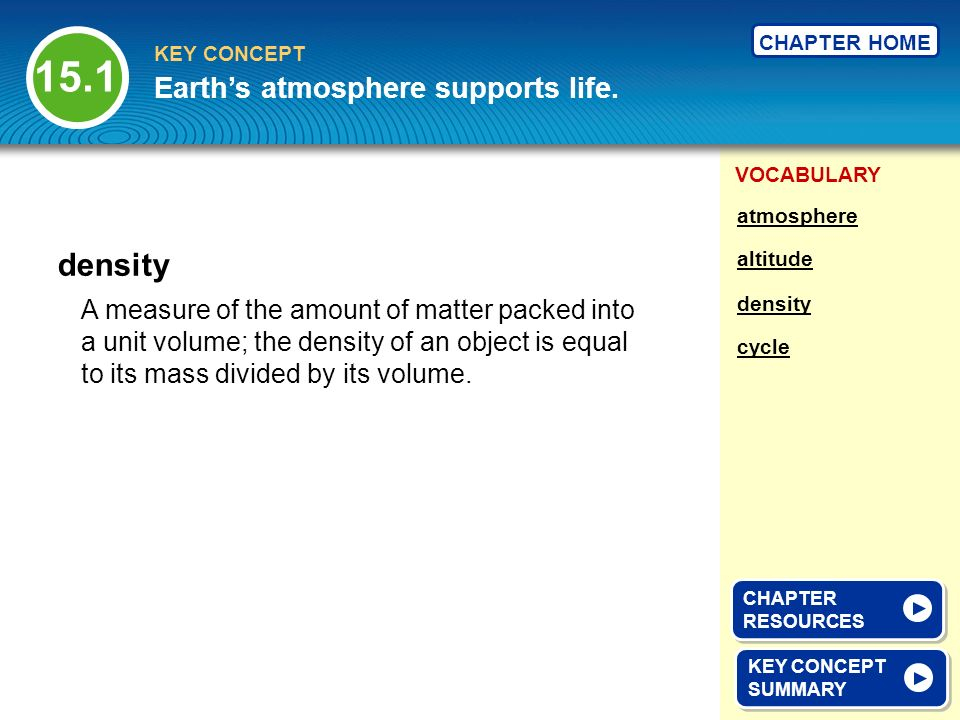 15.1 density Earth's atmosphere supports life.
