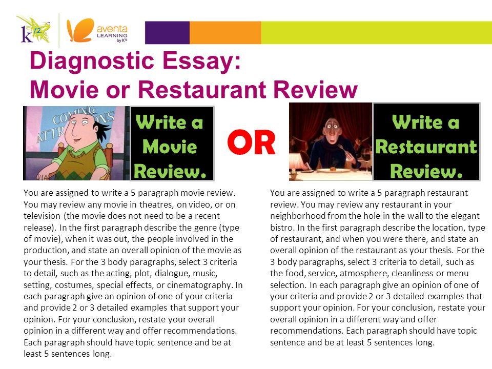 acr major assignments ppt  diagnostic essay movie or restaurant review