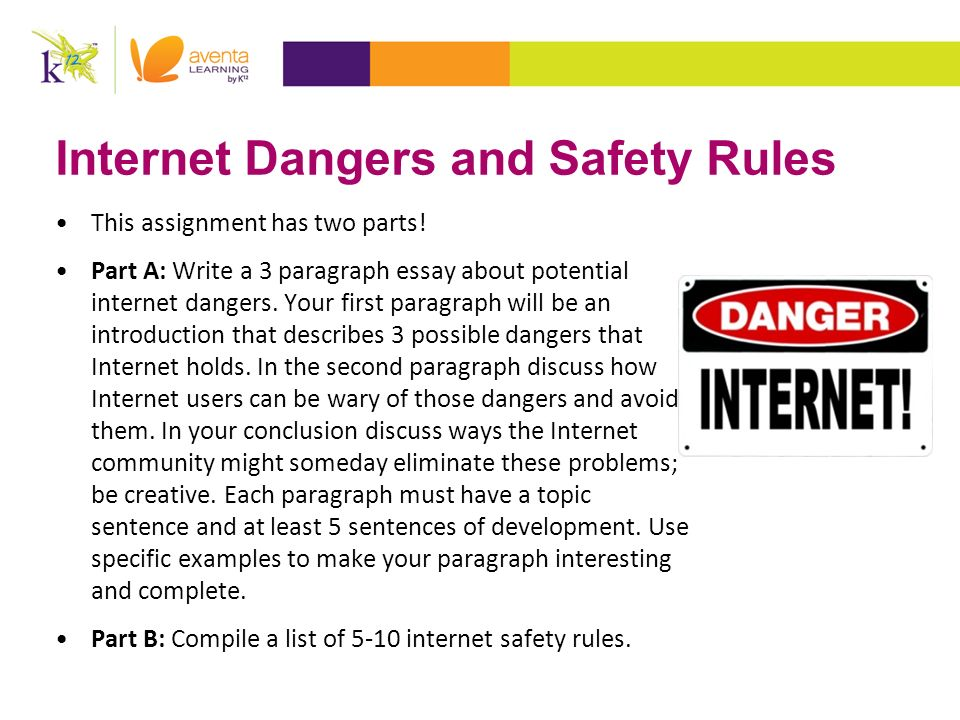 3 paragraph essay about potential internet dangers We hope that our diagnosis essay will help you understand how argumentative essays should be written, and how you can develop a string argument and prove it the computer returns a list of potential illnesses and suggests the type of care patient should seek.