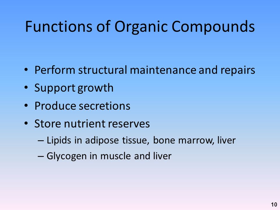 Functions of Organic Compounds