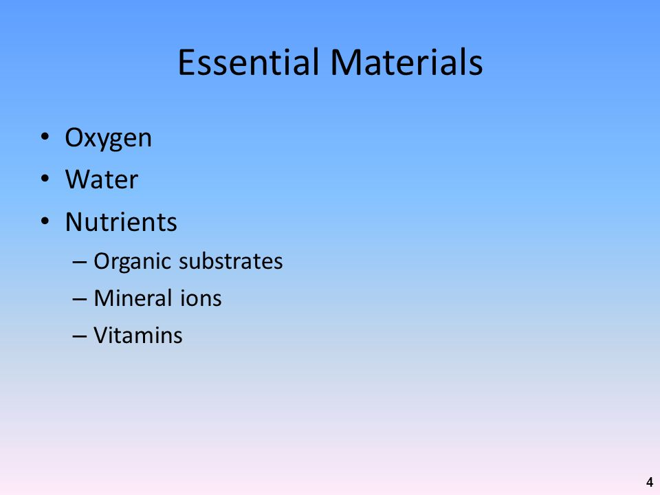 Essential Materials Oxygen Water Nutrients Organic substrates