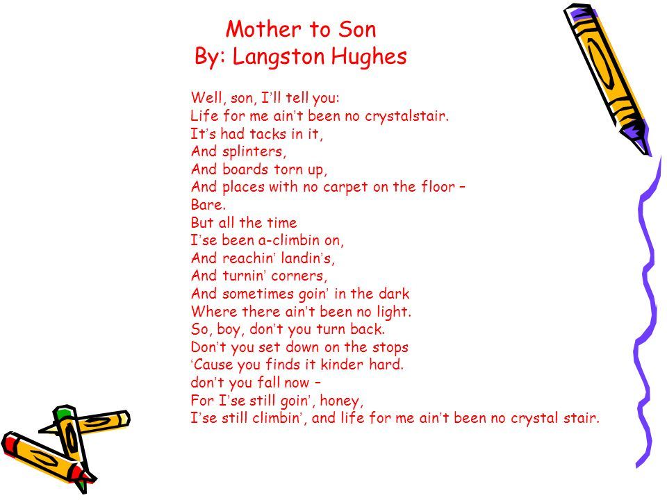 Langston Hughes – Mother to Son