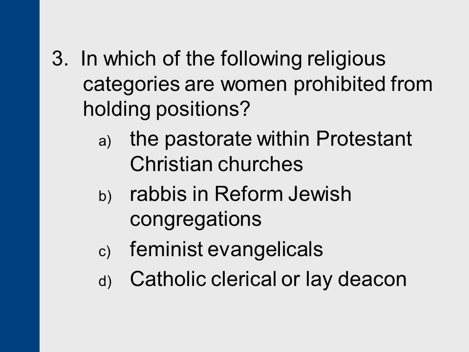 3. In which of the following religious categories are women prohibited from holding positions