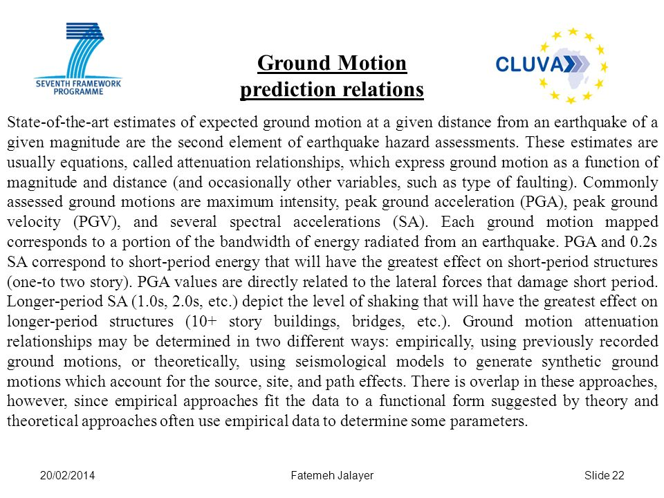 Ground Motion prediction relations