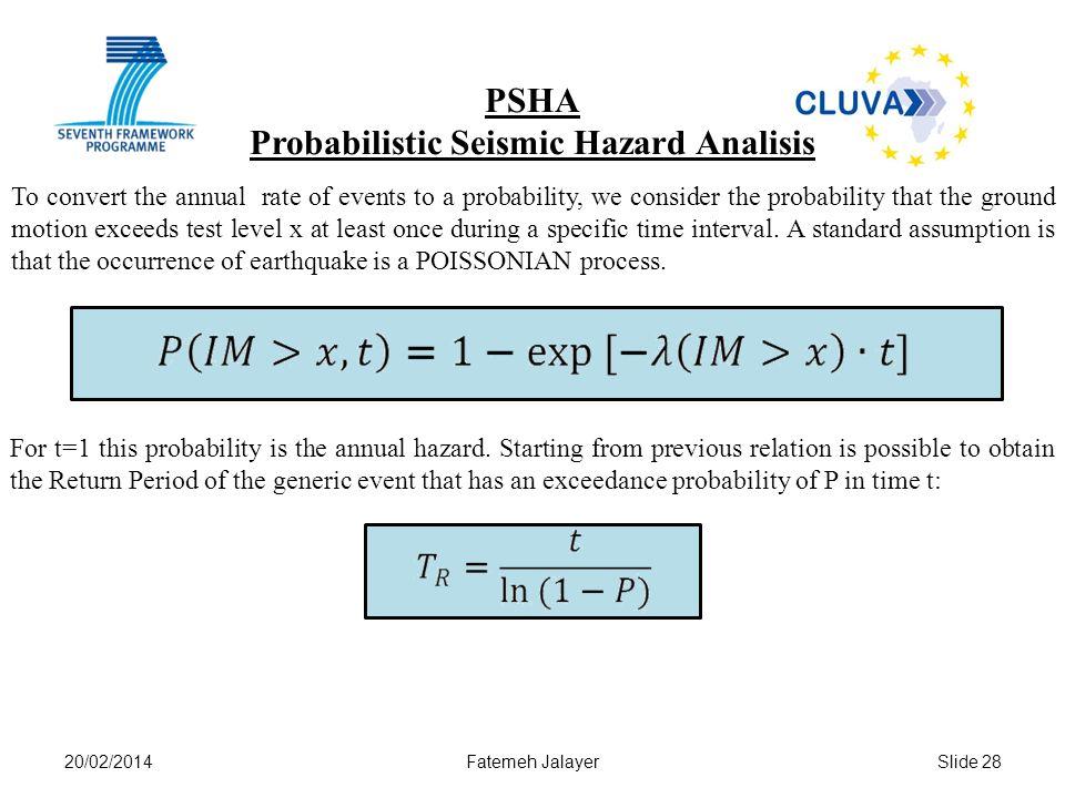 Probabilistic Seismic Hazard Analisis